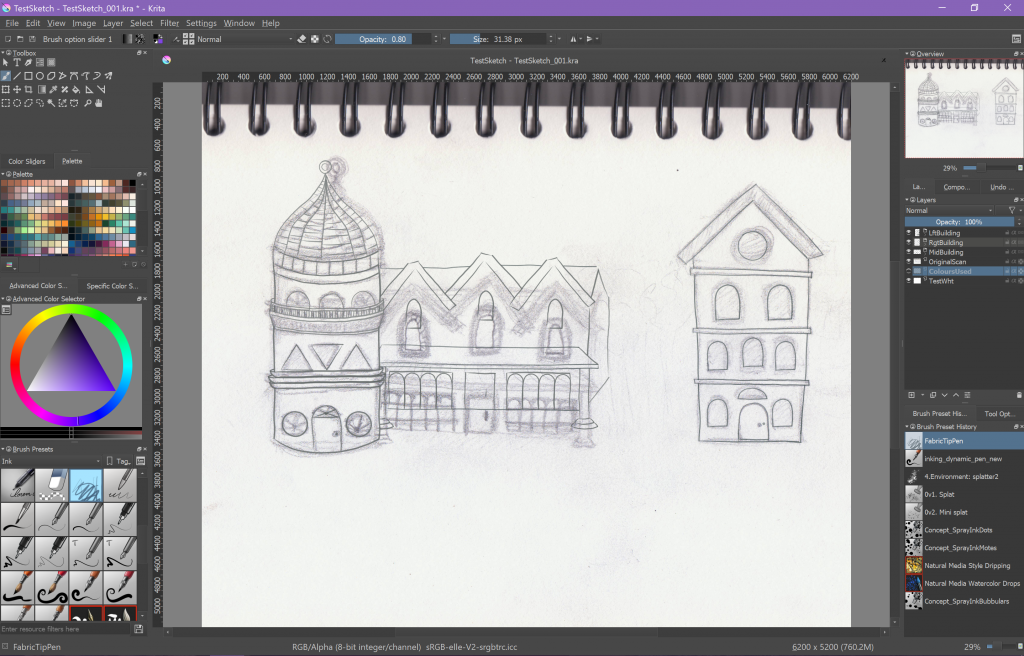 Inking outlines with Krita digital art